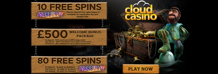 10 Free Spins on Sign Up at Cloud Casino