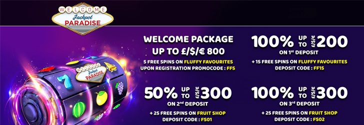 5 Free Spins Bonus at Jackpot Paradise Casino